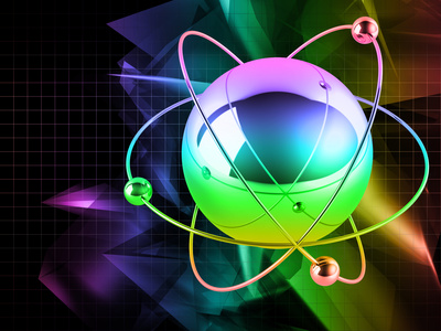 Atom on abstract background