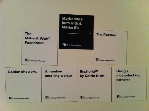 Single question with multiple answers from Cards Against Humanity