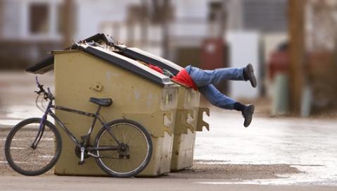 dumpster and bike