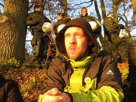 Waiting to be beaten up, by the police near by. Gorleben anti-nuclear transport protest circa 2008