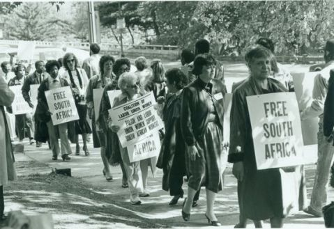 One of the thousands of US protests against apartheid