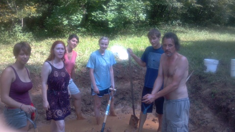 Bara, Hawina, Nani Ganas, Rachel McDonogh, Matous and me in the mud pit