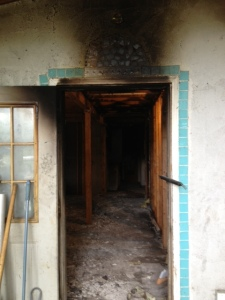 Porch door, smoke and fire damage