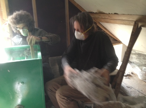 Jared, Paxus and blown insulation at Midden Circa Nov 2013
