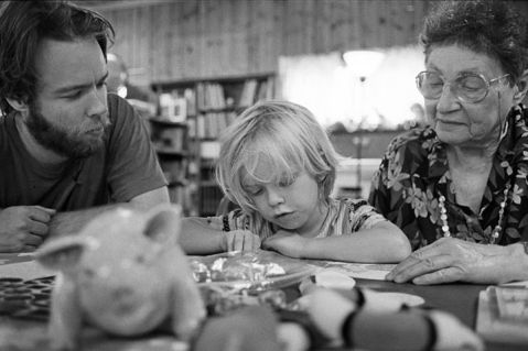 Piper teach Willow to read (w/s Sky Blue) Circa 2007