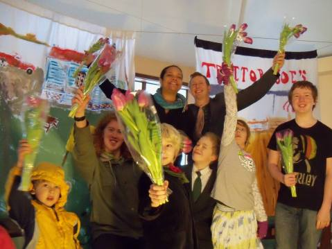 Freegantown cast after the second and last performance. With dumpster dive tulips.