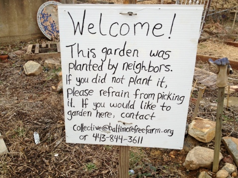 Welcome Sign to the garden - classic anarchist suggestion