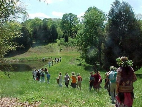Twin Oaks hosts many events which neighboring communities participate in. Beltane procession circa 2013?