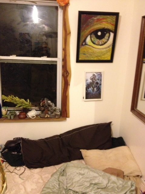 A large eye Dragon painted watches me sleep