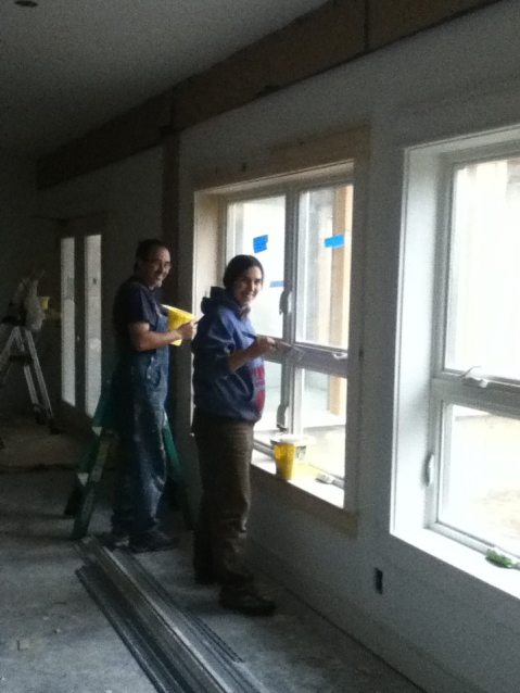 Eric and Audrey painting Heartwood at Acorn after the fire - Circa 2013