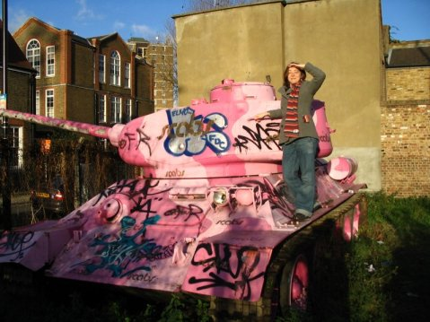 oink tank with grafitti