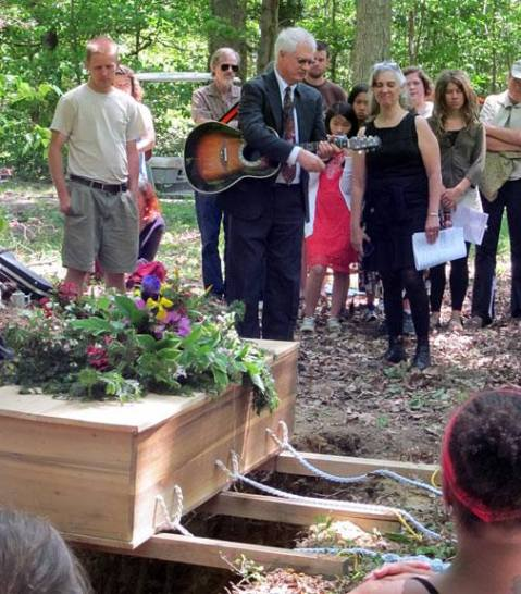 Marione's son and daughter at her burial service