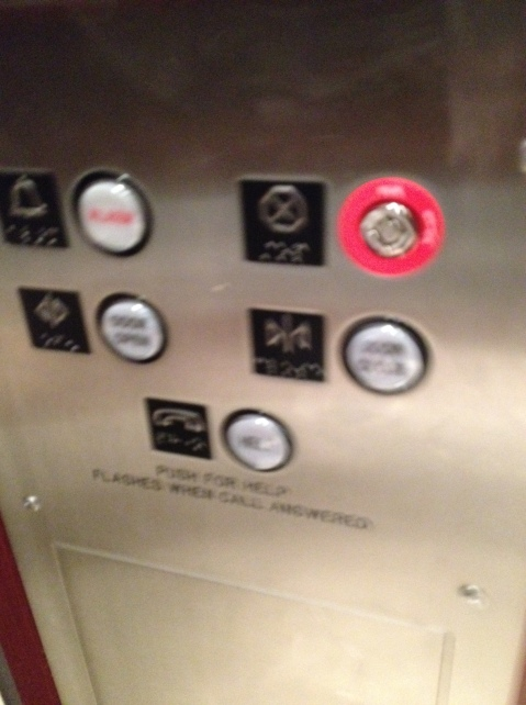 No buttons to select floors inside the elevator
