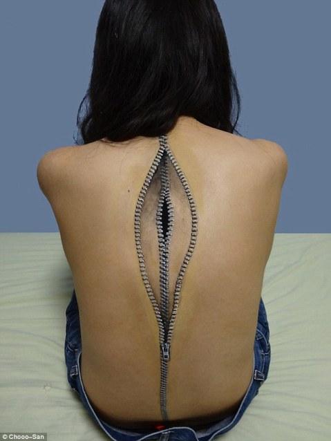 zippers-on-back-body-art