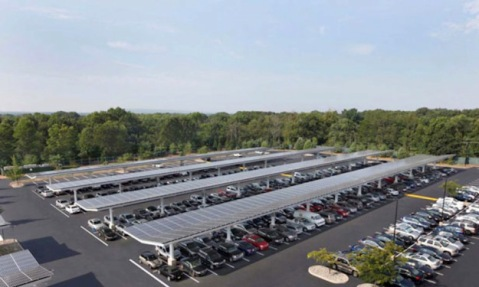Am 8 MW solar parking lot at Rutgers University in New Jersey.