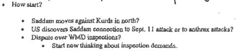 Excerpt from Nov 2001 Rumsfeld memo on how to justify invasion of Iraq