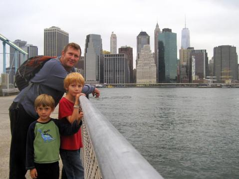 Ezra, Sami and Zadek and NYC skyline - Circa 2014