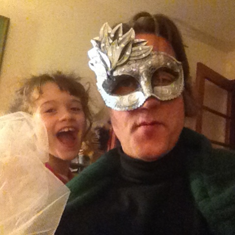 Sappho Gryphondaughter and me with weird mask - undisclosed location