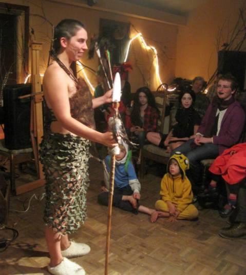 Audrey enchants as an Amazon Warrior in the ZK living room