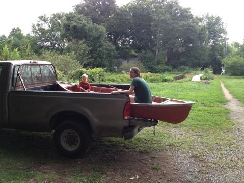 Canoe in a truck