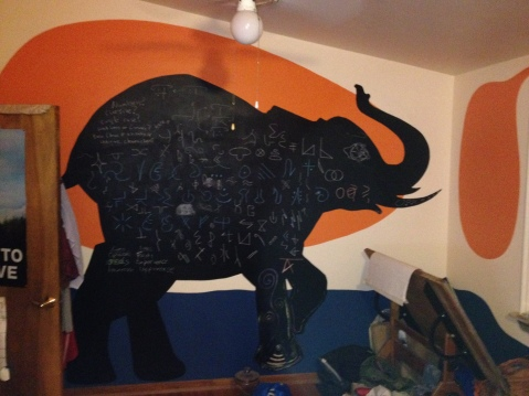 This chalk board elephant is being used to develop a new language at Acorn