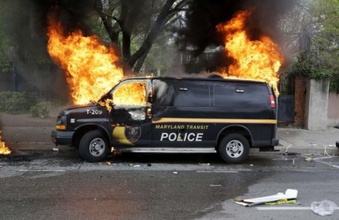 One less police car - Fire in Baltimore yesterday
