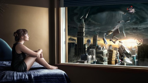 A beautiful girl sitting on her bed and witnessing the distruction of a city at the window, as a projection of her thoughts turned into reality.This image is a digitally enahnced portrait which is enriched with details given by real photographs and hand/painted elements, wisely merged and manipulated to create a very realistic looking picture.