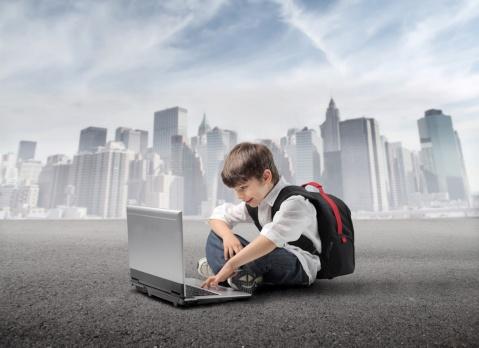 kid laptop skyline