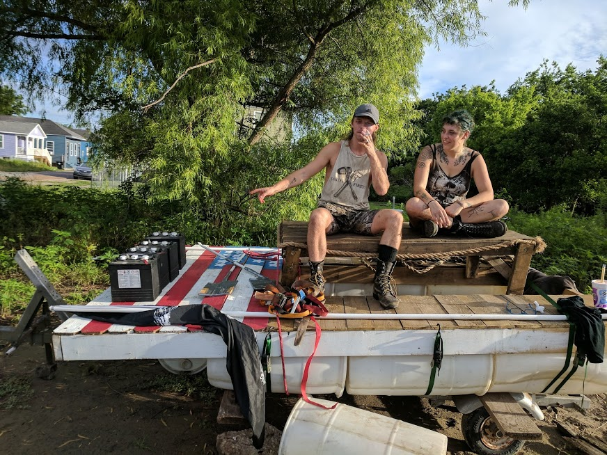Wolvie and Ruby on barge