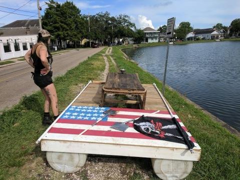 barge on land