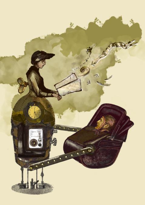 story telling machine surreal